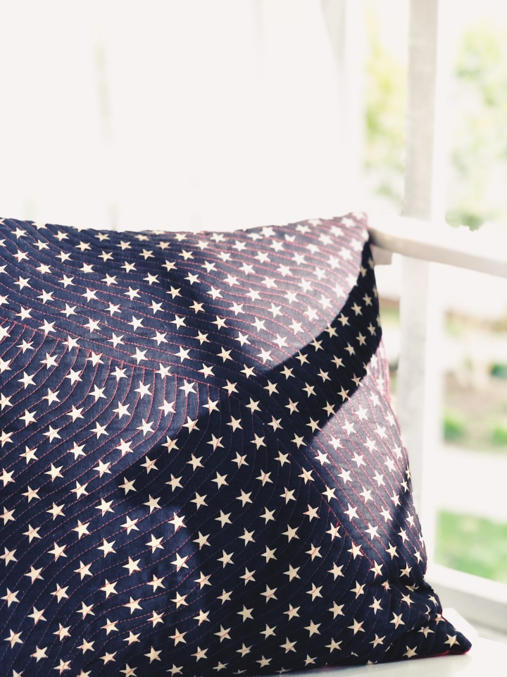 Old Glory Quilted Pillow Cover – Free Quilt Pattern